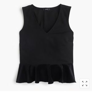 J. Crew Sleeveless Top with Velvet Peplum